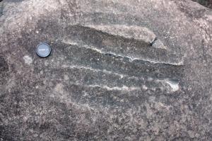 Striations in a diabase boulder in Ringing Rocks boulder field